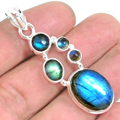 925 sterling silver 14.70cts natural blue labradorite pendant jewelry p39817