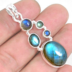 925 sterling silver 15.66cts natural blue labradorite pendant jewelry p39824