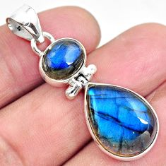 925 sterling silver 16.20cts natural blue labradorite pendant jewelry p87704