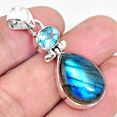 925 sterling silver 15.65cts natural blue labradorite topaz pear pendant p87729
