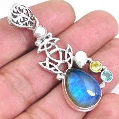 925 sterling silver 11.83cts natural blue labradorite topaz pearl pendant p59260