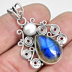 925 sterling silver 11.19cts natural blue labradorite white pearl pendant p33854