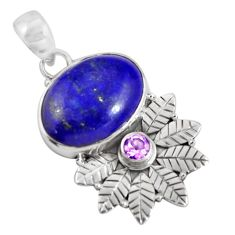925 sterling silver 14.63cts natural blue lapis lazuli amethyst pendant p90369