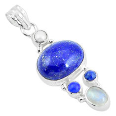 925 sterling silver 14.72cts natural blue lapis lazuli moonstone pendant p64344