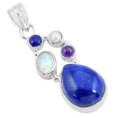 925 sterling silver 14.67cts natural blue lapis lazuli moonstone pendant p64349