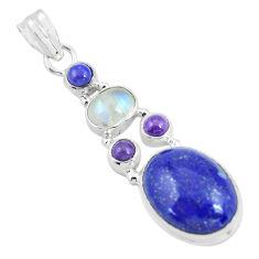 925 sterling silver 14.26cts natural blue lapis lazuli moonstone pendant p64353