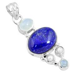 925 sterling silver 14.72cts natural blue lapis lazuli moonstone pendant p70437