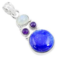 925 sterling silver 14.40cts natural blue lapis lazuli moonstone pendant p70440