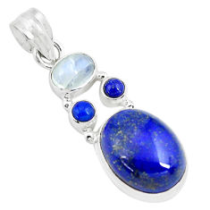 925 sterling silver 13.28cts natural blue lapis lazuli moonstone pendant p70443