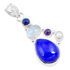 925 sterling silver 15.11cts natural blue lapis lazuli moonstone pendant p70460