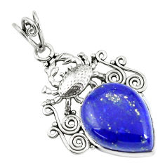 925 sterling silver 14.72cts natural blue lapis lazuli pear crab pendant p59768