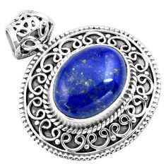 925 sterling silver 10.74cts natural blue lapis lazuli pendant jewelry p86643