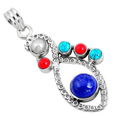 925 sterling silver 7.12cts natural blue lapis lazuli turquoise pendant d31184
