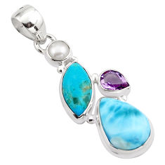 925 sterling silver 15.65cts natural blue larimar amethyst pearl pendant p88966