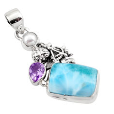 925 sterling silver 10.37cts natural blue larimar amethyst pearl pendant p88973