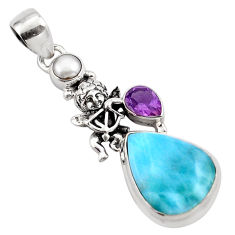 925 sterling silver 15.16cts natural blue larimar amethyst pearl pendant p88979