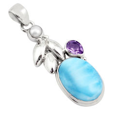 925 sterling silver 15.16cts natural blue larimar amethyst pearl pendant p88986