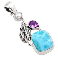 925 sterling silver 8.27cts natural blue larimar amethyst pendant jewelry p88990