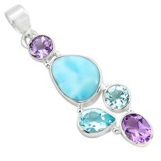 925 sterling silver 10.80cts natural blue larimar amethyst topaz pendant p71028
