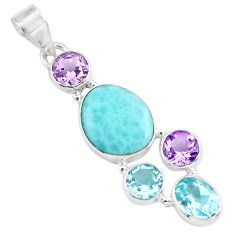 925 sterling silver 10.78cts natural blue larimar amethyst topaz pendant p71033