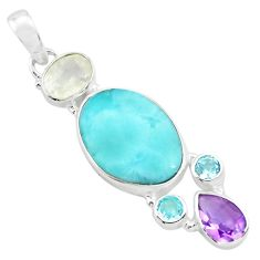 925 sterling silver 14.72cts natural blue larimar amethyst topaz pendant p72044