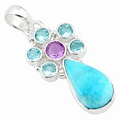925 sterling silver 13.27cts natural blue larimar amethyst topaz pendant p74091