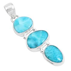 925 sterling silver 14.14cts natural blue larimar fancy pendant jewelry p47664