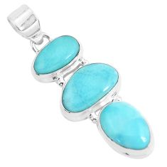 925 sterling silver 16.54cts natural blue larimar fancy pendant jewelry p47671