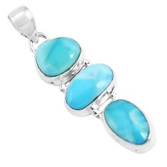 925 sterling silver 15.16cts natural blue larimar fancy pendant jewelry p47679