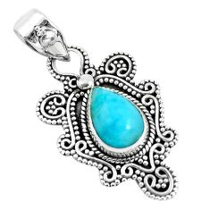 925 sterling silver 4.70cts natural blue larimar pear pendant jewelry d31104