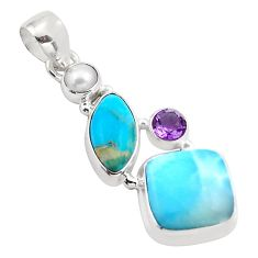 925 sterling silver 16.54cts natural blue larimar pearl amethyst pendant p88962
