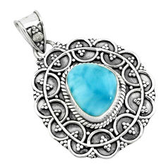 925 sterling silver 4.53cts natural blue larimar pendant jewelry p66630