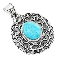 925 sterling silver 4.40cts natural blue larimar pendant jewelry p66634