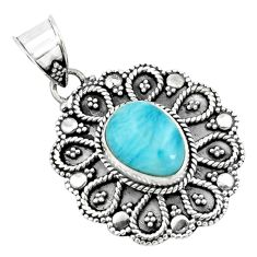 925 sterling silver 4.22cts natural blue larimar pendant jewelry p66638