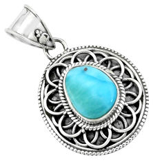 925 sterling silver 4.22cts natural blue larimar pendant jewelry p66644