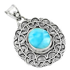 925 sterling silver 4.52cts natural blue larimar pendant jewelry p66654