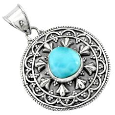925 sterling silver 4.38cts natural blue larimar pendant jewelry p66670
