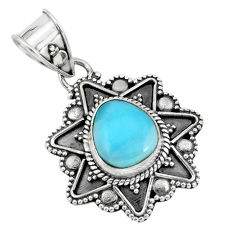 925 sterling silver 4.26cts natural blue larimar pendant jewelry p66679