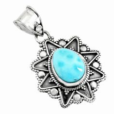 925 sterling silver 4.51cts natural blue larimar pendant jewelry p71249