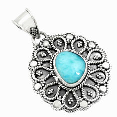 925 sterling silver 4.68cts natural blue larimar pendant jewelry p71256