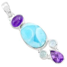 925 sterling silver 15.11cts natural blue larimar purple amethyst pendant p72050
