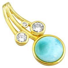 925 sterling silver 5.10cts natural blue larimar topaz 14k gold pendant c4379
