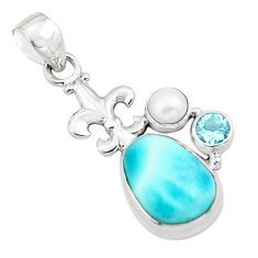 925 sterling silver 7.84cts natural blue larimar topaz pearl pendant p80434