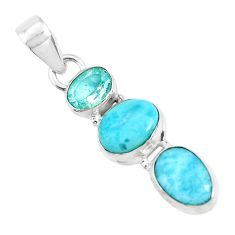 925 sterling silver 10.02cts natural blue larimar topaz pendant jewelry p47675