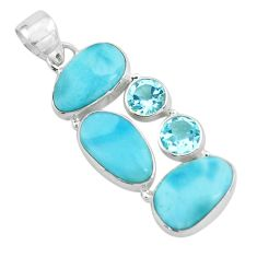 925 sterling silver 13.28cts natural blue larimar topaz pendant jewelry p66698