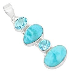 925 sterling silver 10.31cts natural blue larimar topaz pendant jewelry p66711