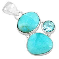 925 sterling silver 8.26cts natural blue larimar topaz pendant jewelry p66736