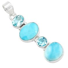 925 sterling silver 10.02cts natural blue larimar topaz pendant jewelry p71024