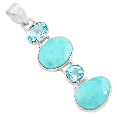 925 sterling silver 12.07cts natural blue larimar topaz pendant jewelry p71038