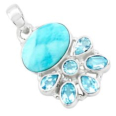925 sterling silver 15.85cts natural blue larimar topaz pendant jewelry p72917